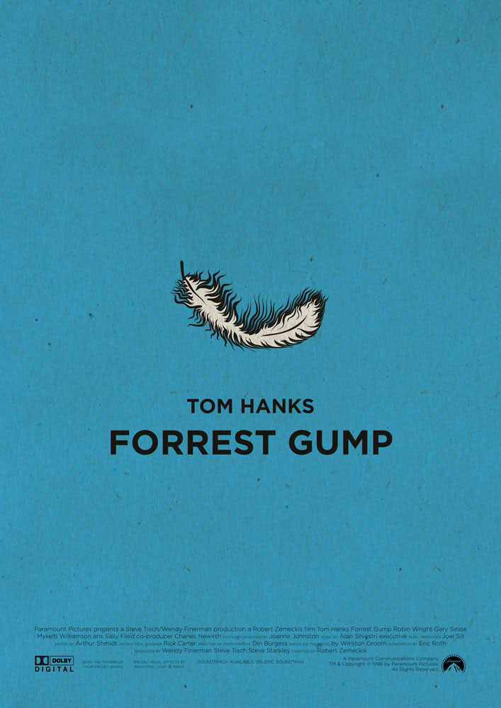"Forrest Gump, my favorite movie ever. Blue background, a simple feather in the centre, the symbol of this cinema masterpiece. Below that there is the writing ""Tom Hanks Forrest Gump"" in capital letters. In the bottom part of the poster we can find the names of the production crew and the logos of the producers."