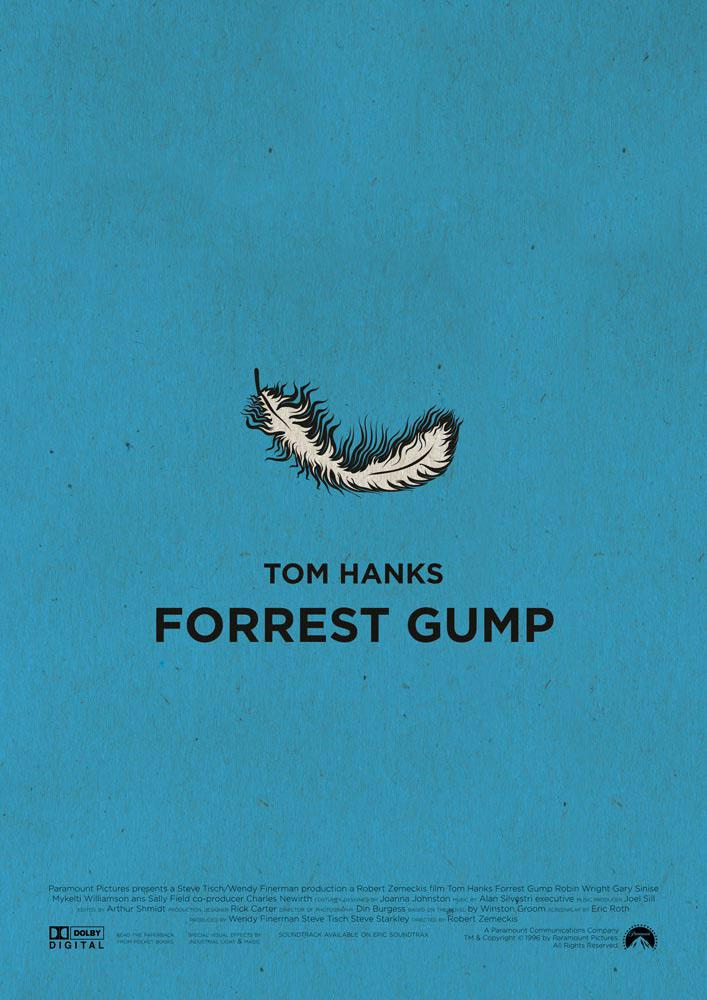 """Forrest Gump, in assoluto il mio film preferito. Sfondo azzurro, una semplice piuma al centro, simbolo assoluto di questo capolavoro cinematografico, sotto la quale compaiono in maiuscolo a carrateri cubitali le scritte """"Tom Hanks Forrest Gump"""". Nella parte bassa del poster compaiono i nomi della produzione e i loghi dei produttori."""