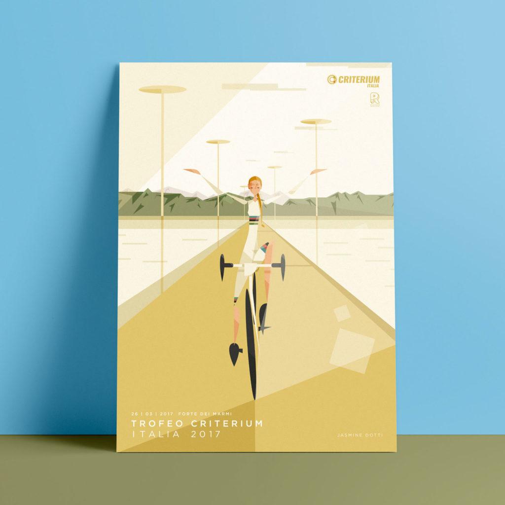 Forte dei Marmi, il poster. Jasmine Dotti, vestita con il tipico completo del campione del Mondo, pedala a braccia aperte sul lungo mare di Forte dei Marmi, sullo sfondo le Alpi Apuane si stagliane bianche alle spalle dei verdi colli.