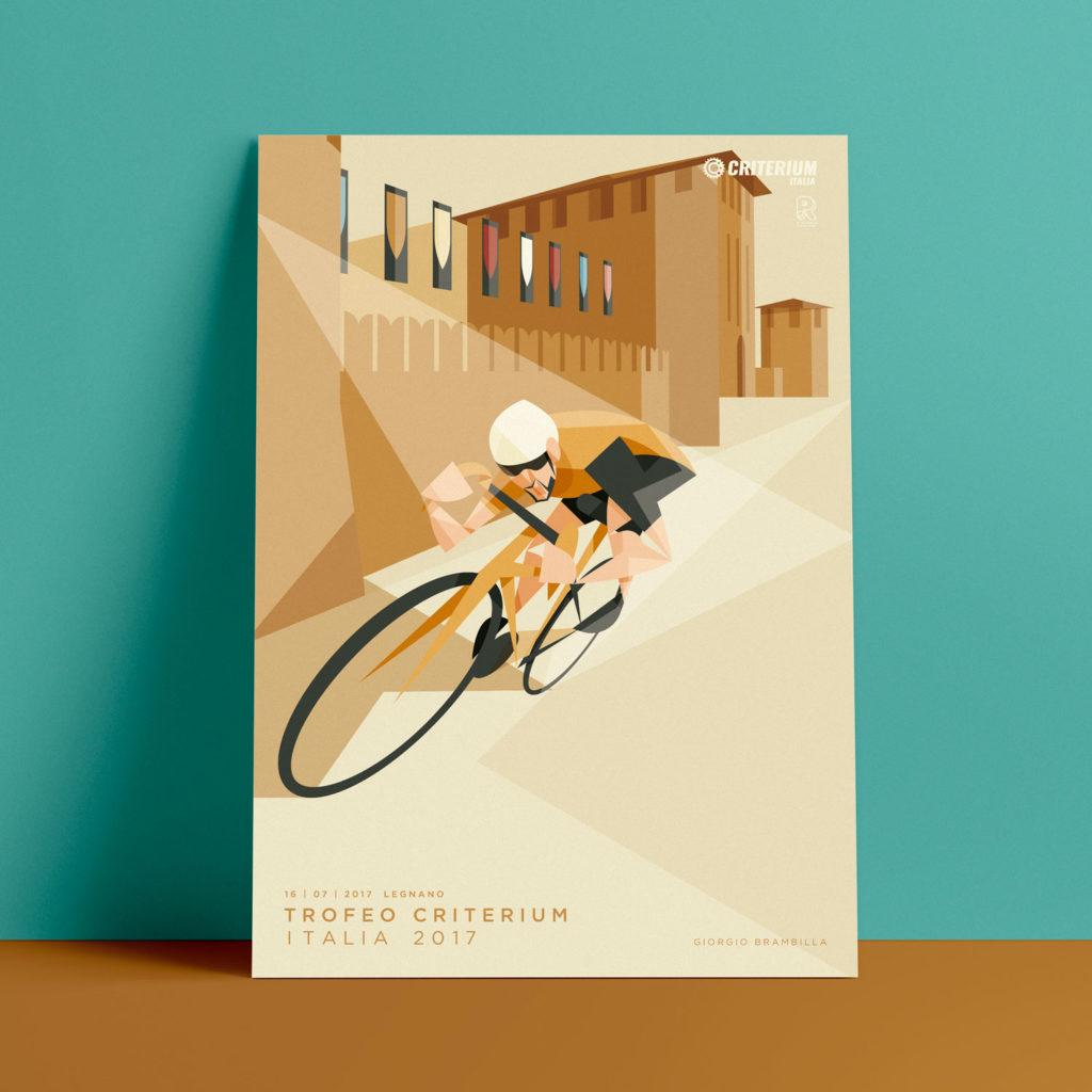 Legnano, il poster. Giorgio Brambilla piega la sua bicicletta di fronte al castello di Legnano al termina di una curva.