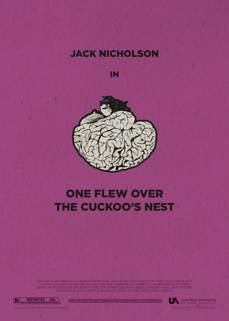 "One flew over the cuckoo's nest, with Jack Nicholson at his peak. A purple background with an upside-down brain in the middle which became the cuckoo's nest that is sitting on it. Below this image there is written ""One flew over the cuckoo's nest"" in capital letters. In the bottom part of the poster appear the names of the production and the logos of the producers."