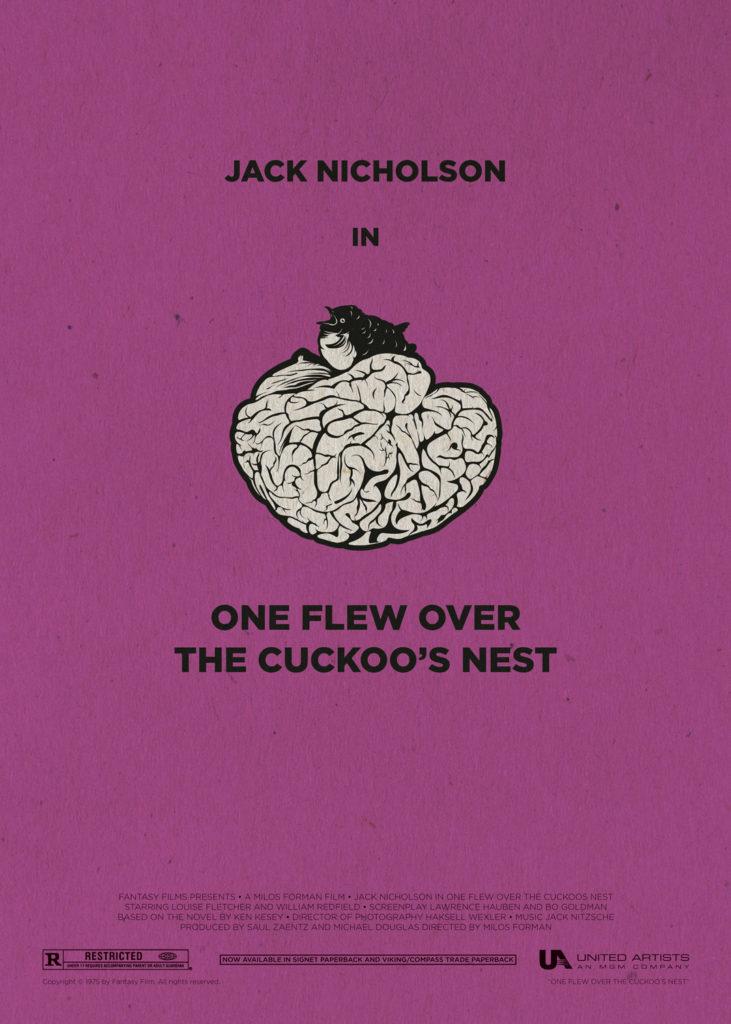 """Qualcuno volò sul nido del cuculo, con Jack Nicholson al suo acme. Uno sfondo viola su cui campeggia al centro un cervello rovesciato, diventato nido di un cuculo che compare sulla sommità. Sotto di essa, in maiuscolo a caratteri cubitali, la scritta """"One flew over the cuckoo's nest"""", titolo originale del film. Nella parte bassa del poster compaiono i nomi della produzione e i loghi dei produttori."""