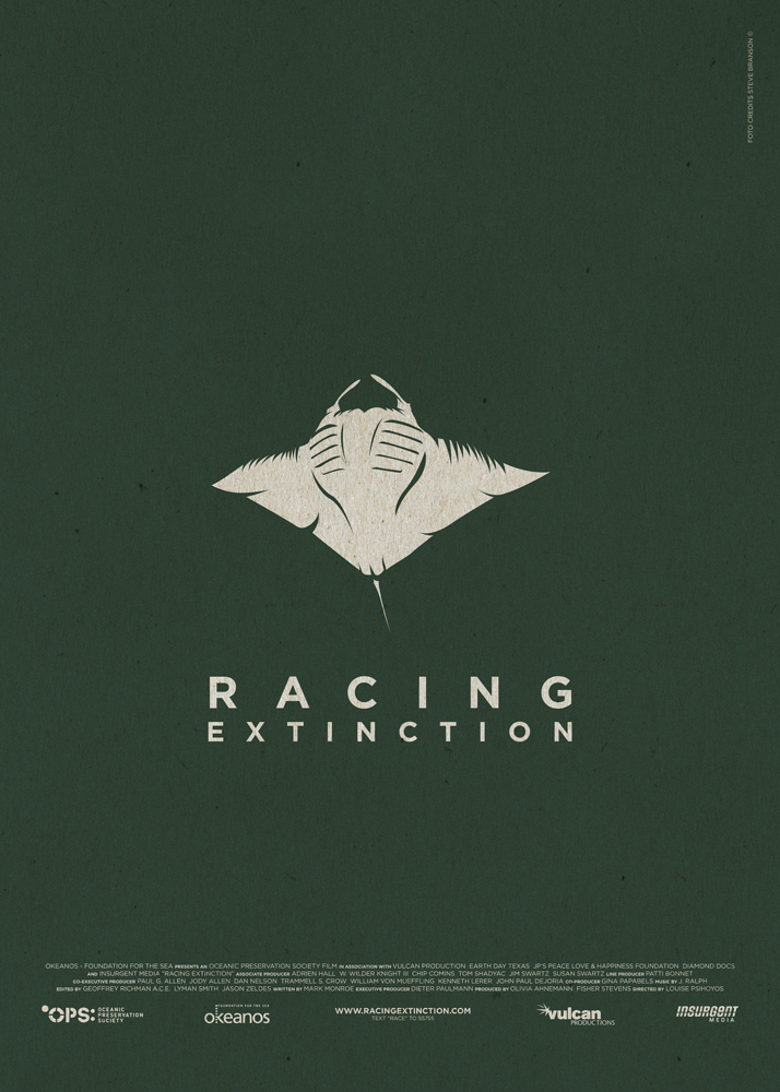 "Racing Extinction, a documentary about the biological risk to which animals were put due to the environmental exploitation made by men. Background black as oil, in the centre a devilfish spreads its wings, almost trying to escape. Underneath it the words ""Racing Extinction"". In the bottom part of the poster are the names of the production and the logos of the producers."