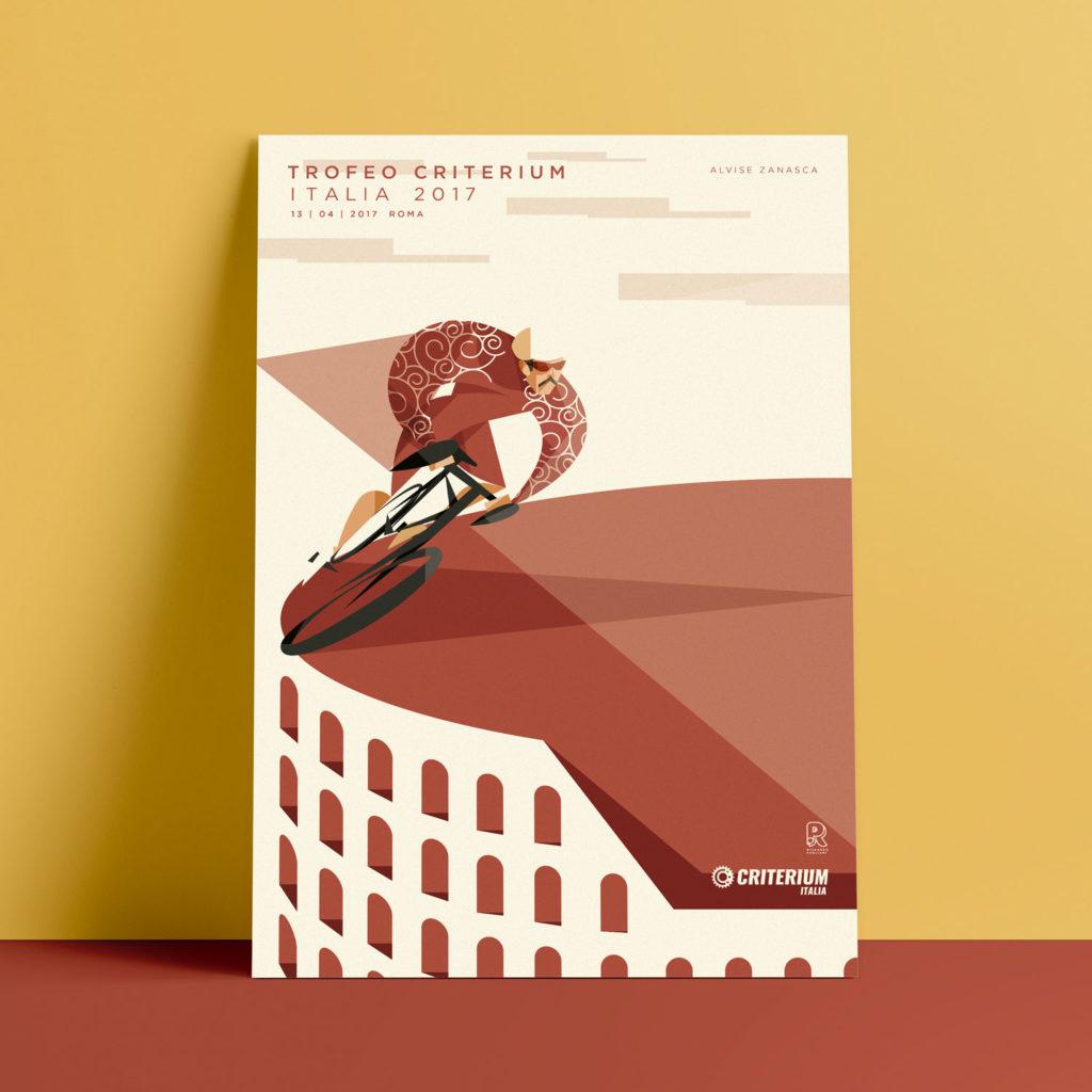 Roma, il poster. Alvise Zanasca pedala sul bordo di un Colosseo stilizzato vestito della sua divisa rossa lasciando dietro di sua triangolare scia rossa.