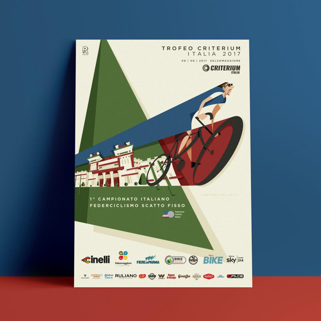 poster promozionale gara di Salsomaggiore per il primo campionato italiano della Federciclismo Scatto Fisso.