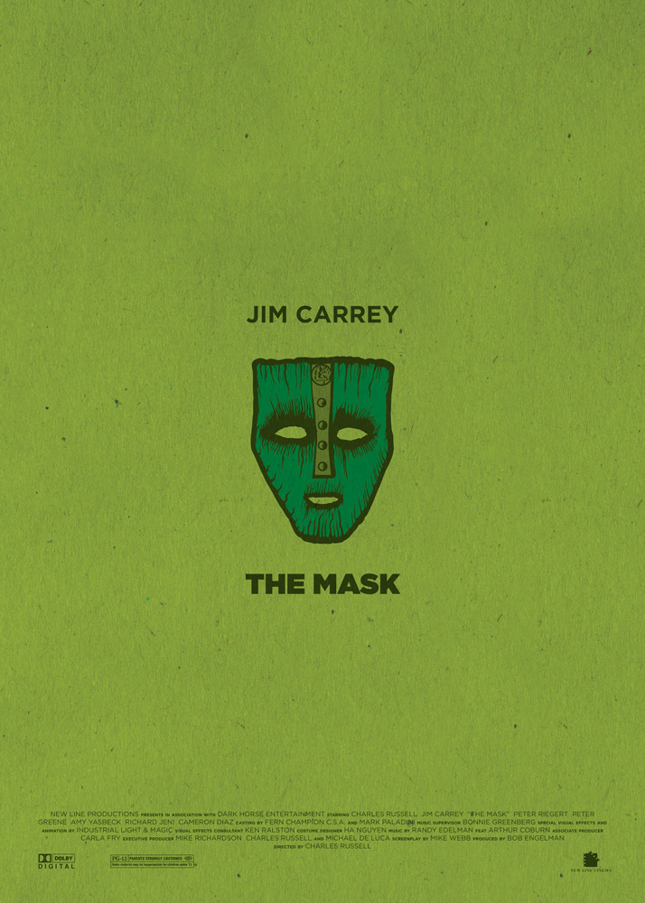 "The Mask, the move which consecrated Jim Carrey on the international scene. Inevitably a green background, in the centre the Loki's mask, an essential element of the film, which is surrounded by the words ""Jim Carrey"" and ""The Mask"". In the bottom part of the poster are the names of the production and the logos of the producers."