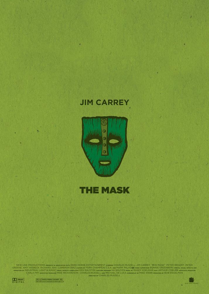 """The Mask, il film che consacrò Jim Carrey sul panorama internazionale. Sfondo immancabilmente verde, al centro la Maschera di Loki, elemento imprescindibile del film, attorniata dalle scritte """"Jim Carrey"""" e """"The Mask"""". Nella parte bassa del poster compaiono i nomi della produzione e i loghi dei produttori."""