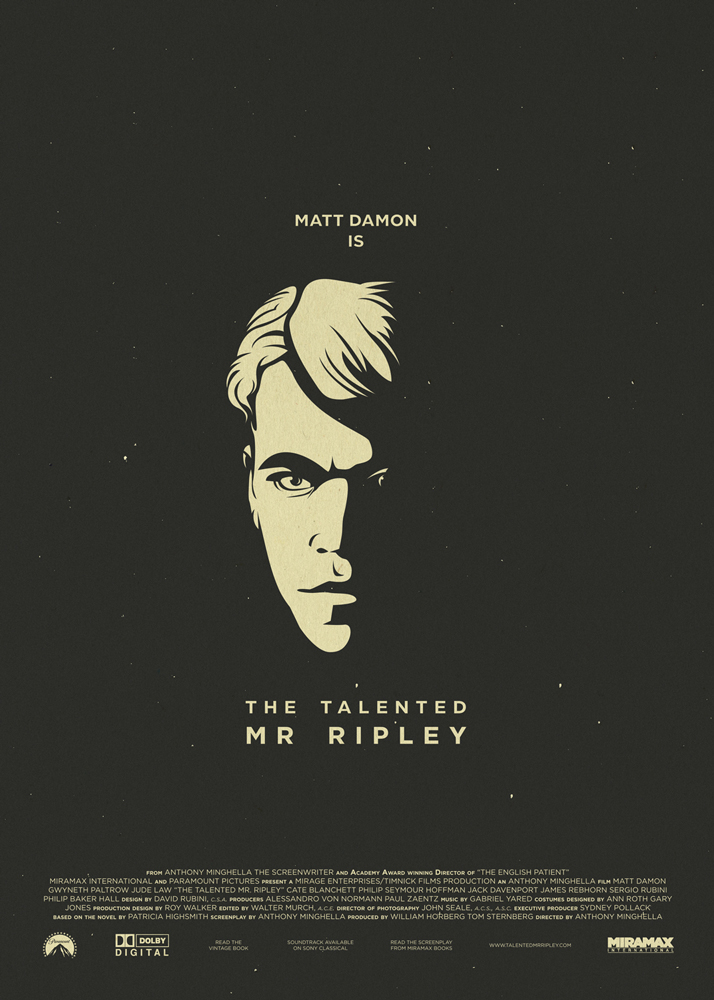 "The Talented Mr. Ripley. Black background, all the other elements are of a vintage white. In the centre there is the face of Matt Damon, the protagonist of the movie, illuminated on one side and darkened on the other, a clear reference to his double nature which is represented in the movie on several occasions. Underneath that, the title ""The Talented Mr. Ripley"". In the bottom part of the poster are the names of the production and the logos of the producers."
