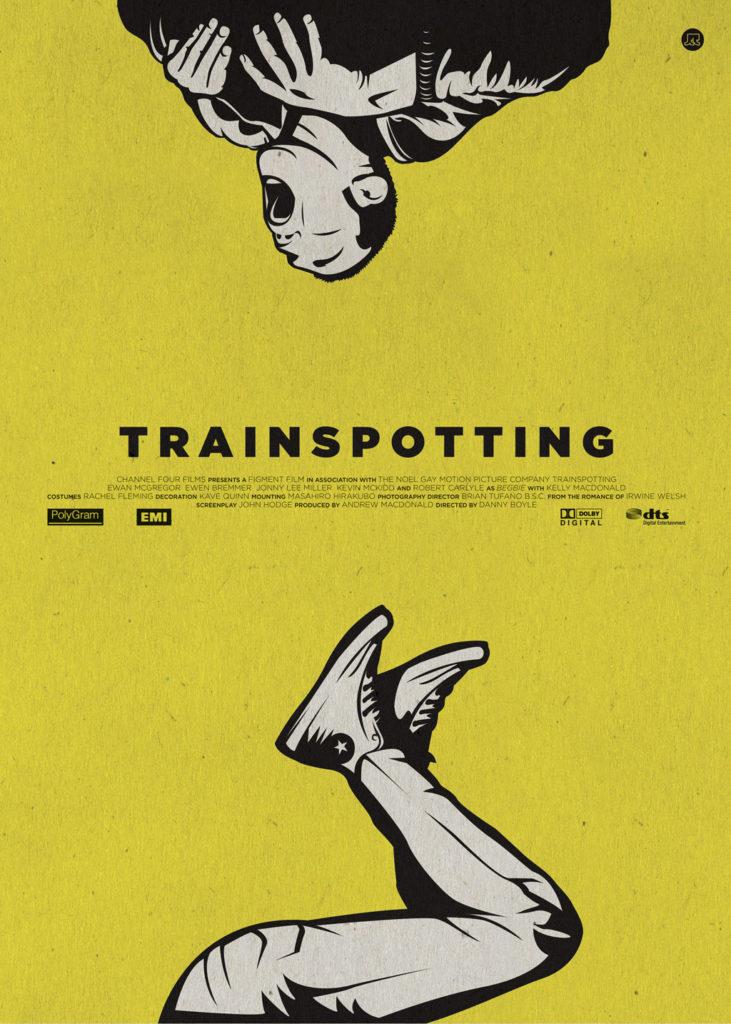 Trainspotting, un poster giallo fluo, un uomo spezzato in due che sbuca dalla cima e sprofonda da sotto. Non state capendo? nemmeno lui.