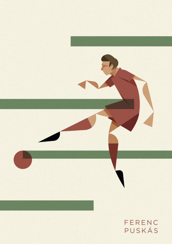 Ferenc Puskas con la maglia ungherese tira in una posizione plastica con tutta la sua potenza.