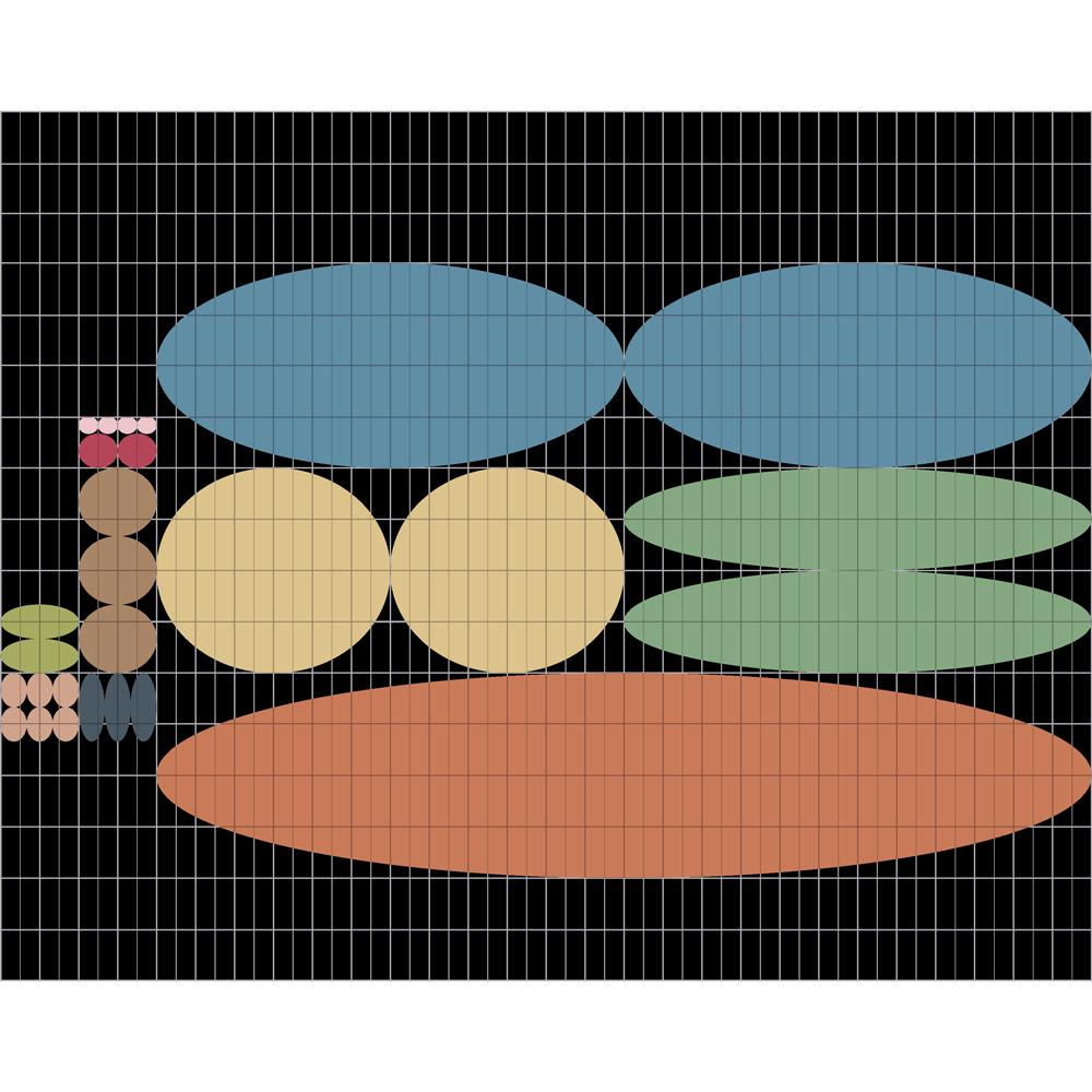 gli ovali, tra loro simili per dimensioni e misure, di cui è composto il marchio