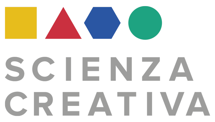 Scienza Creativa, il logo. Rispetto al manifesto, nel logo di Scienza Creativa gli elementi sono allineati e ordinati, pur riportando le caratteristiche forme e colorazioni.