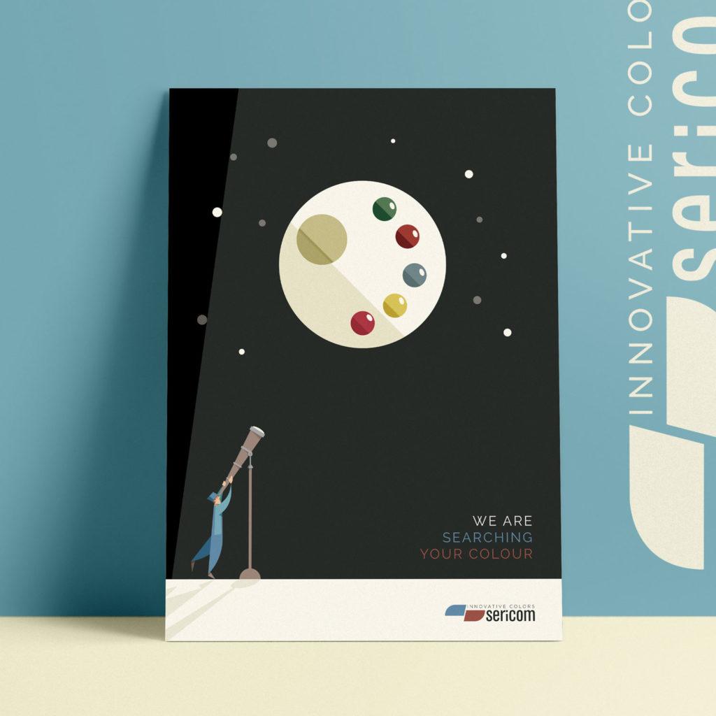 Sericom, locandina n°2, L'operaio vestito d'azzurro ammira una luna che somiglia alla tavolozza di un artista con un cannocchiale. Anche in cielo si possono trovare i colori!