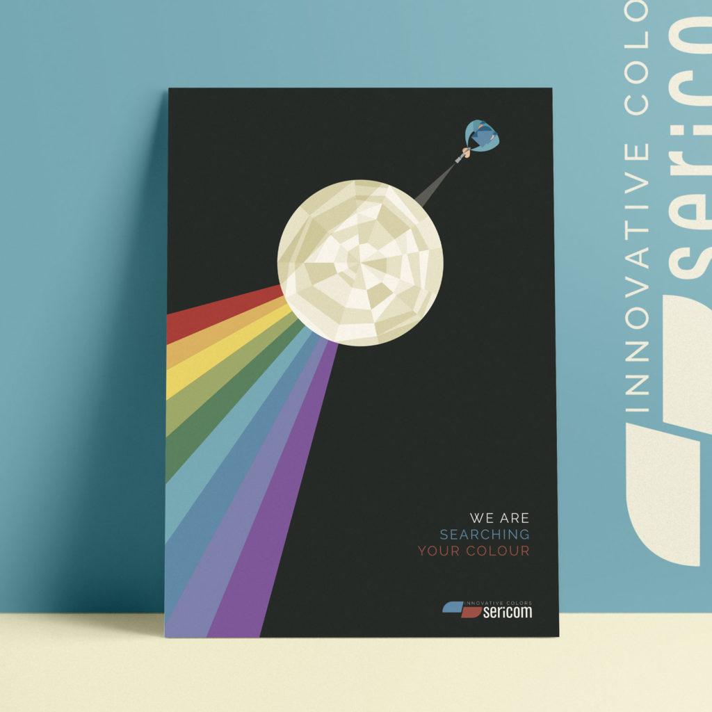 Sericom, locandina n°6. L'operaio vestito d'azzurro punta una torcia contro ad un prisma che rifrange la luce in un arcobaleno di colori.