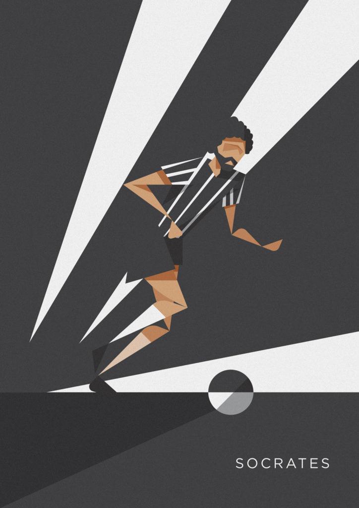Socrates incede verso l'area avversaria vestito di bianco e nero, i colori del Corinthians. Di cui è stato simbolo e bandiera.