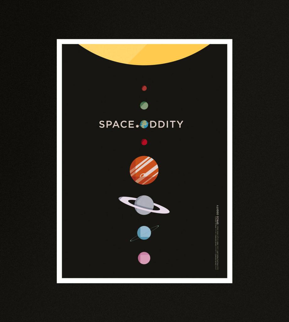Space Oddity, il sistema solare allineato su un cupo sfondo nero