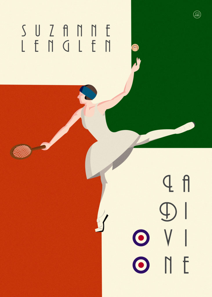 Suzanne Lenglen doing a dance step in the centre of the poster, while holding a tennis racket in one hand and a ball in the other one. She's wearing a dress similar to the one of a ballerina. Her white figure is in contrast with an orange field that recalls the red clay of Paris, but it's also in contrast with a green field, a clear reference to Wimbledon, where Suzanne had her consecration.