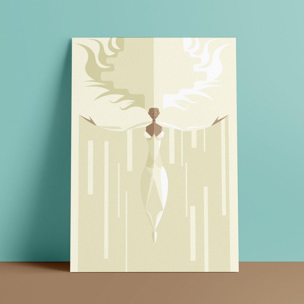 Storm, the poster. L'eroina dei fulmini si eleva al cielo vestita di bianco su sfondo bianco. dalle sue braccia si staccano stalattiti di ghiaccio e neve rettangolari.
