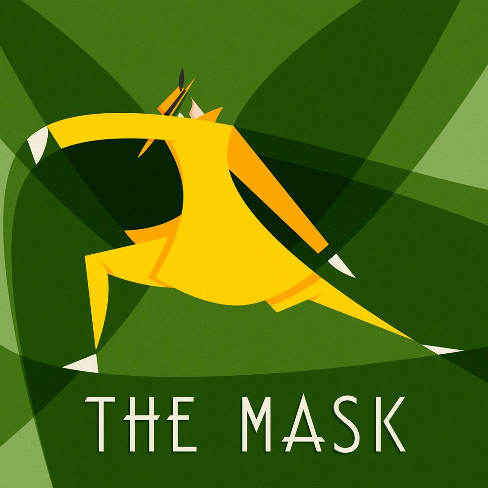 The Mask, la mashera indossata da Jim Carrey nell'omonimo film, prende vita in un quadro segnato da una seri di sinuose geometrie che definiscono la sagoma danzante del personaggio