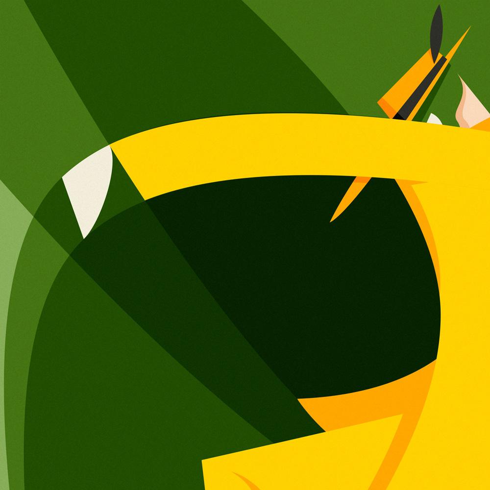 Un dettaglio di The Mask, con focus su volto e cappello giallo a tesa larga, utile per rendere ancora più evidente l'insieme di geometri che vanno a comporre l'illustrazione