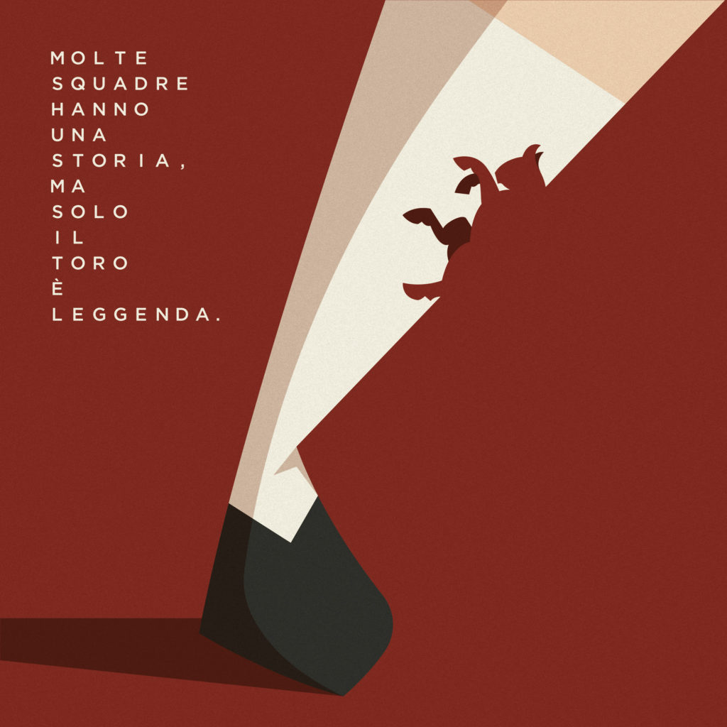 """L'arrivo di Walter Mazzarri e del mio amico Fabio Corradini al Torino, celebrata con un calzettone bianco su cui compare un toro che si mescola con lo sfondo granata. A lato una scritta: """"molte squadre hanno una storia, solo il Toro è Leggenda""""."""