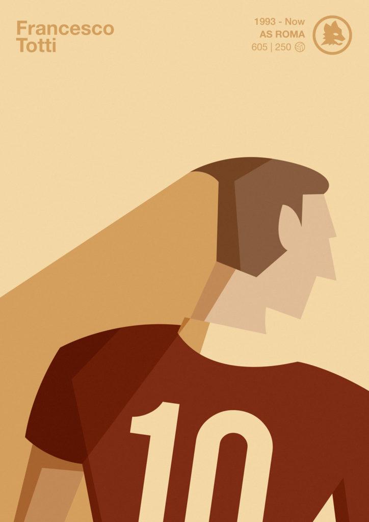 Francesco Totti, l'ottavo re di Roma. Raffigurato di spalle, un dieci sulla maglietta giallo rossa, un colletto giallo che scompare nel caldo sfondo su cui tutto si appoggia.