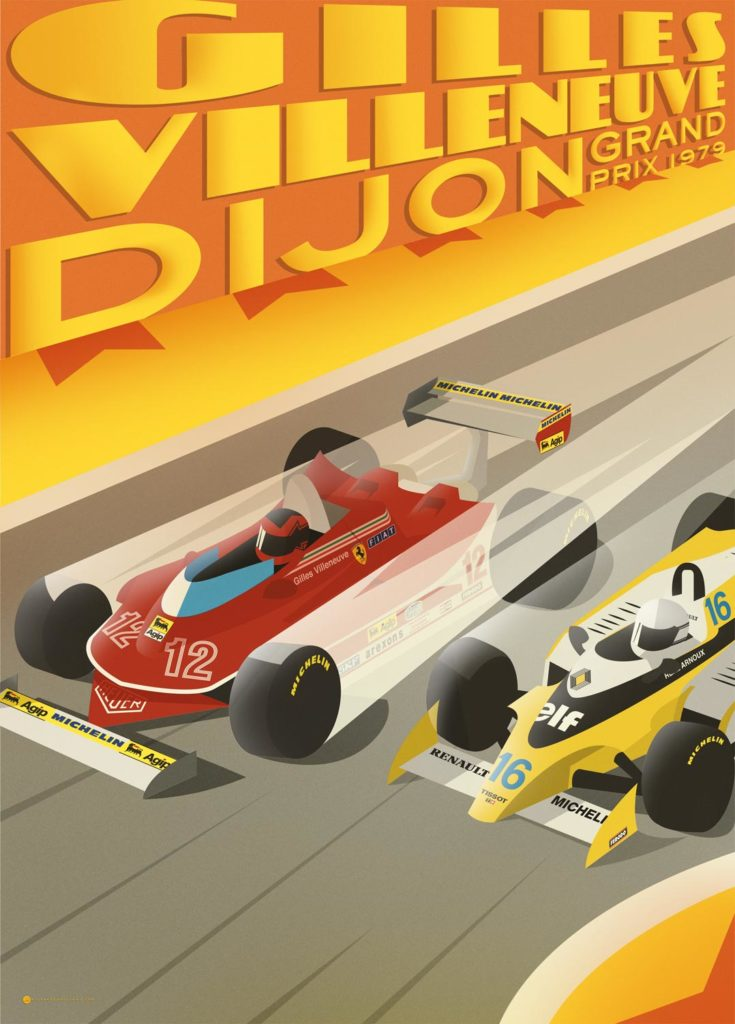 The racing cars of Villeneuve and Arnoux are speeding on the Dijon's circuit. This is a clear reference to the epic competition that took place between the two drivers during the 1979 Grand Prix. Villeneuve is driving his Ferrari, red obviously, Arnoux is driving his yellow and white Renault. From the wheels speed flashes are emerging.