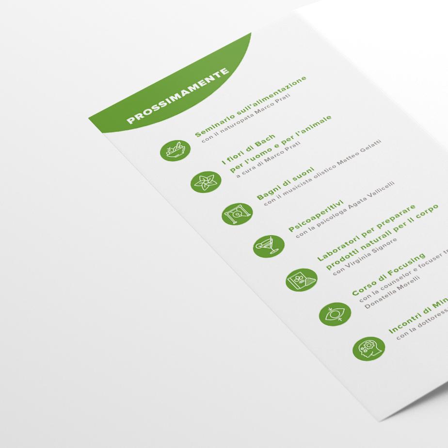 Un dettaglio delle icone presenti nella brochure, create ad hoc per poter garantire il massimo della riconoscibilità al pieghevolino.