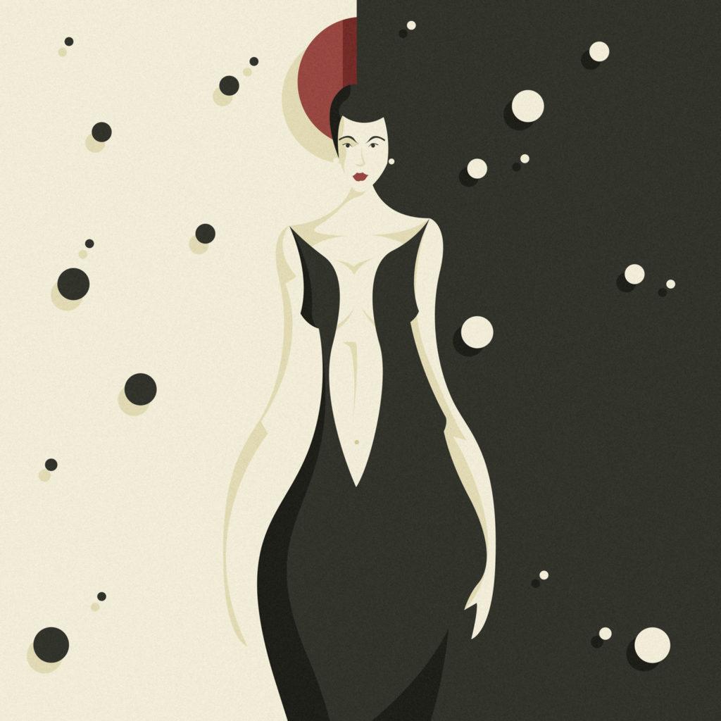 woman in black 3, una donna dai capelli corti, una figura longilinea dai fianchi larghi, uno sfondo diviso a metà tra bianco e nero costellato da simil stelle a contrasto.