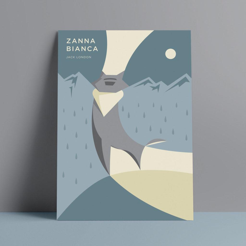 Zanna Bianca, London. Un lupo grigio e fiero si staglia in primo piano solcando le linee sinuose del panorama montuoso e invernale.