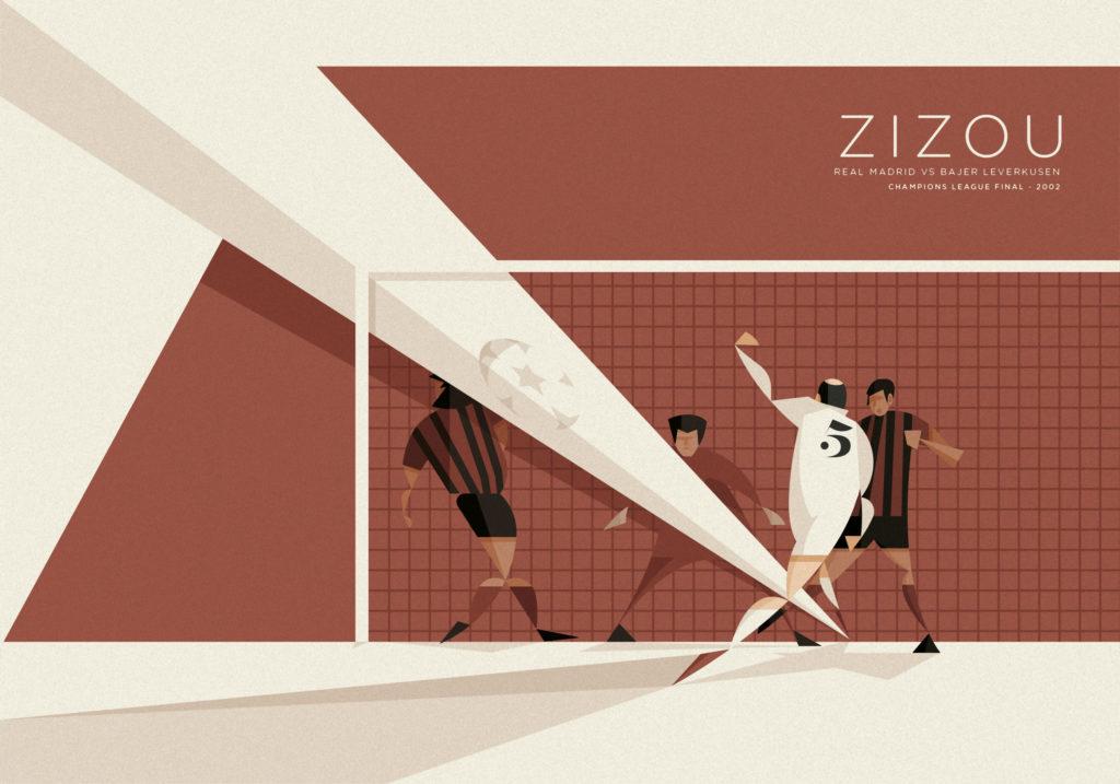 """Il tiro al volo di Zinedine """"Zizou"""" Zidane contro il Bayer Leverkusen in finale di Champions League. Si vede il fenomeno francese di spalle che scaglia con una violenza inaudita il pallone verso la porta rossonera mentre portiere e difensori rimangono impietriti dinnanzi al gesto irripetibile."""