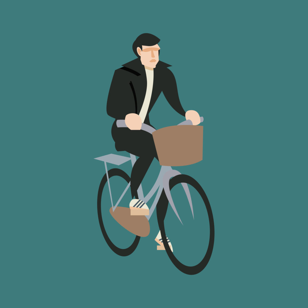 Freddie Mercury in a biker black suit. Short hair, on a petrol blue background, while riding a dove grey Graziella.