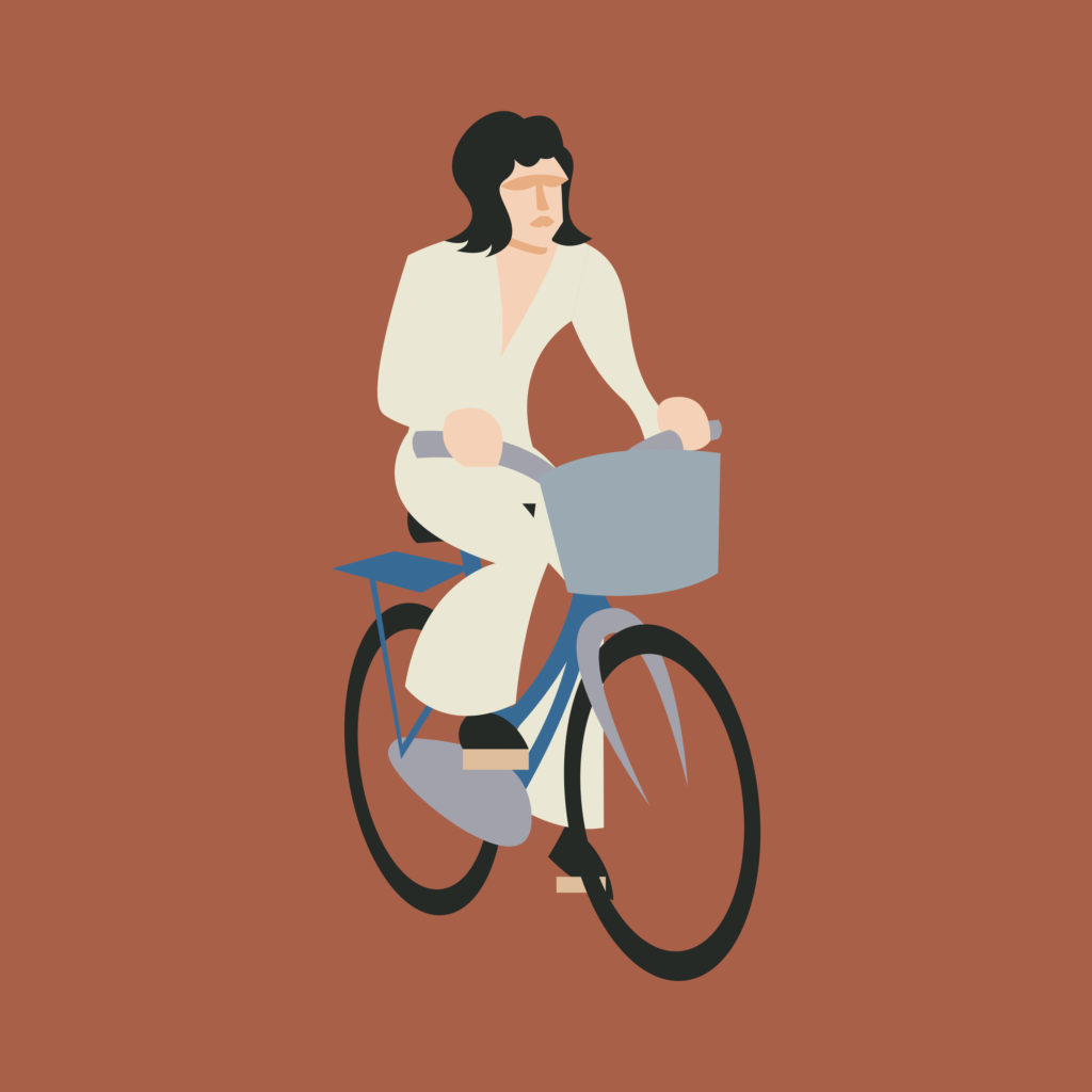Freddie Mercury on a ochre background wearing flared trousers. Helmet hair, no beard, riding a light blue Graziella.