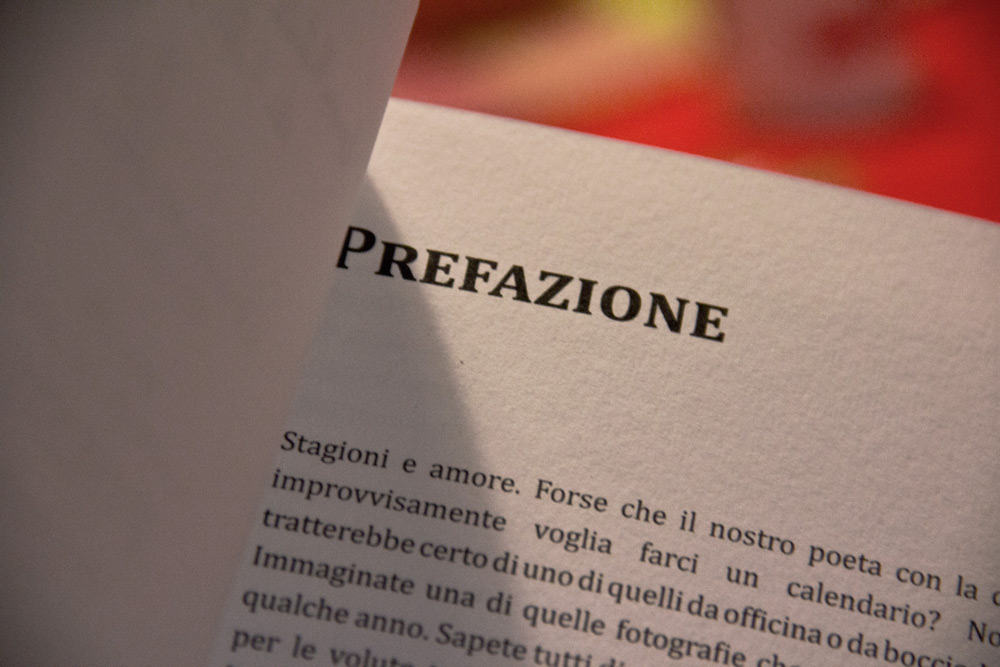 A detail of the book preface curated by Chiara Ferrari, a copywriter from Modena, owner of the Bonsai Studio.