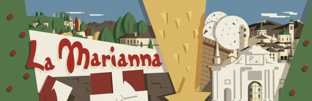 L'illustrazione in formato esteso della lattina Marianna per pandori e panettoni. si vede la porta principale di Bergamo, un cono al gusto stracciatella alle sue spalle, una stella cadente, un albero di natale e dei pacchi regalo subito in primo piano, sullo sfondo la città e le colline di Bergamo, mentre all'orizzonte compaiono timide le Alpi.
