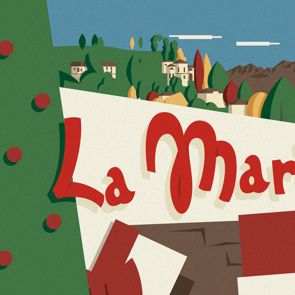 """L'illustrazione nel dettaglio, prima parte. Il logo """"La Marianna"""" inizia a mostrarsi in primo piano, subito dietro un albero di Natale, alcuni pacchi regalo e alle loro spalle le colline di Bergamo con alberi e case a completare il quadro."""