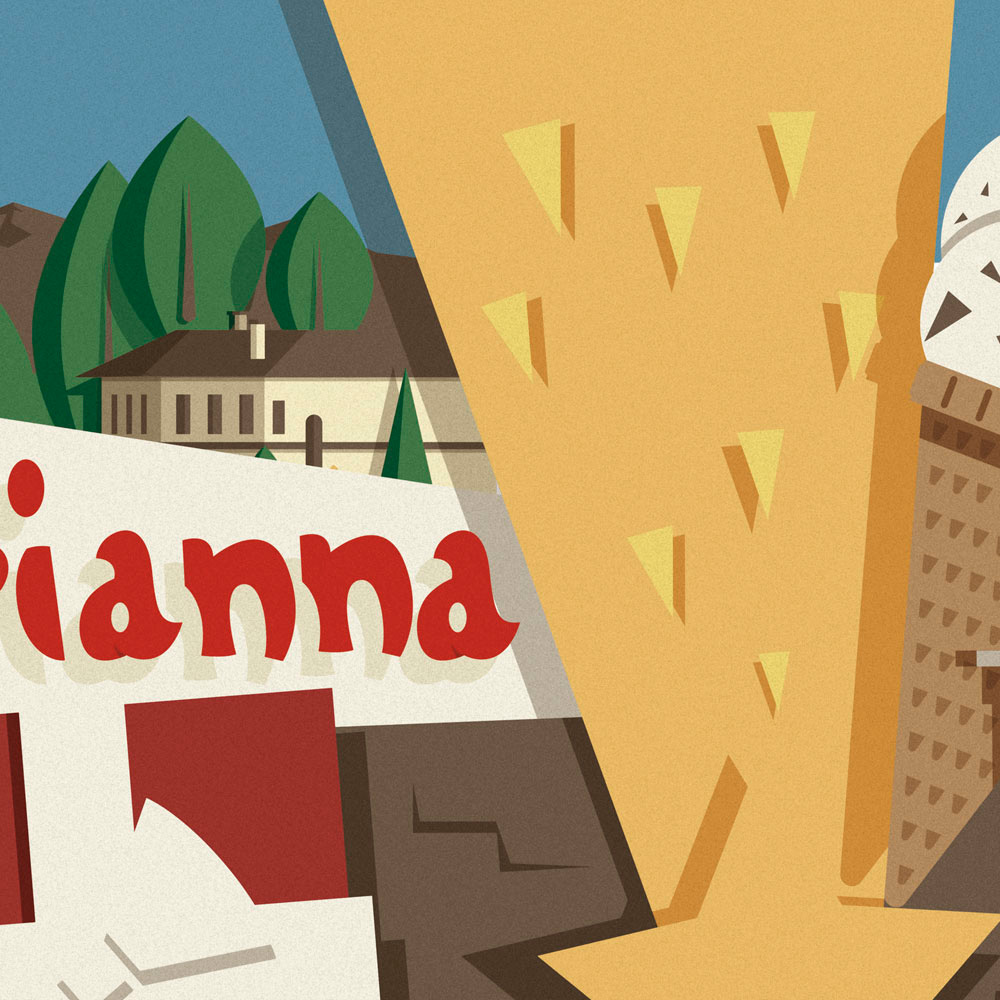 """L'illustrazione nel dettaglio, seconda parte. Il logo """"La Marianna"""" si completa andando a finire nella silhouette di una stella cadente rivolta verso il basso, a far da sfondo le prime case della città di Bergamo e alcune montagne, in primo piano altri pacchi regalo ed una gustosa sorpresa..."""