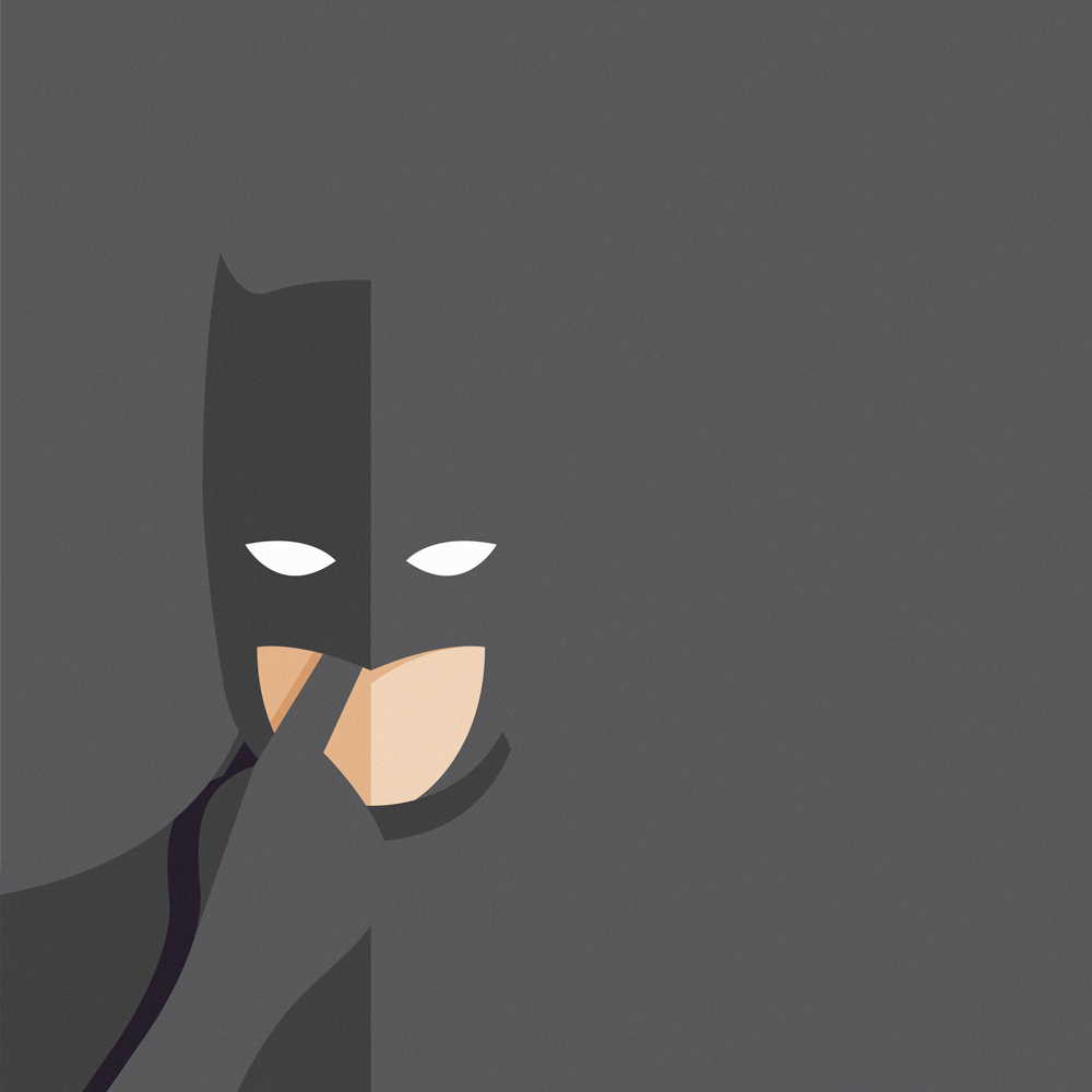 Imperfect heroes: Batman with his finger up his nose.  Batman is picking his nose, the background is black and it merges with the dark silhouette of the superhero. However, it's very clear that Bruce Wayne is picking his nose with his big glove.
