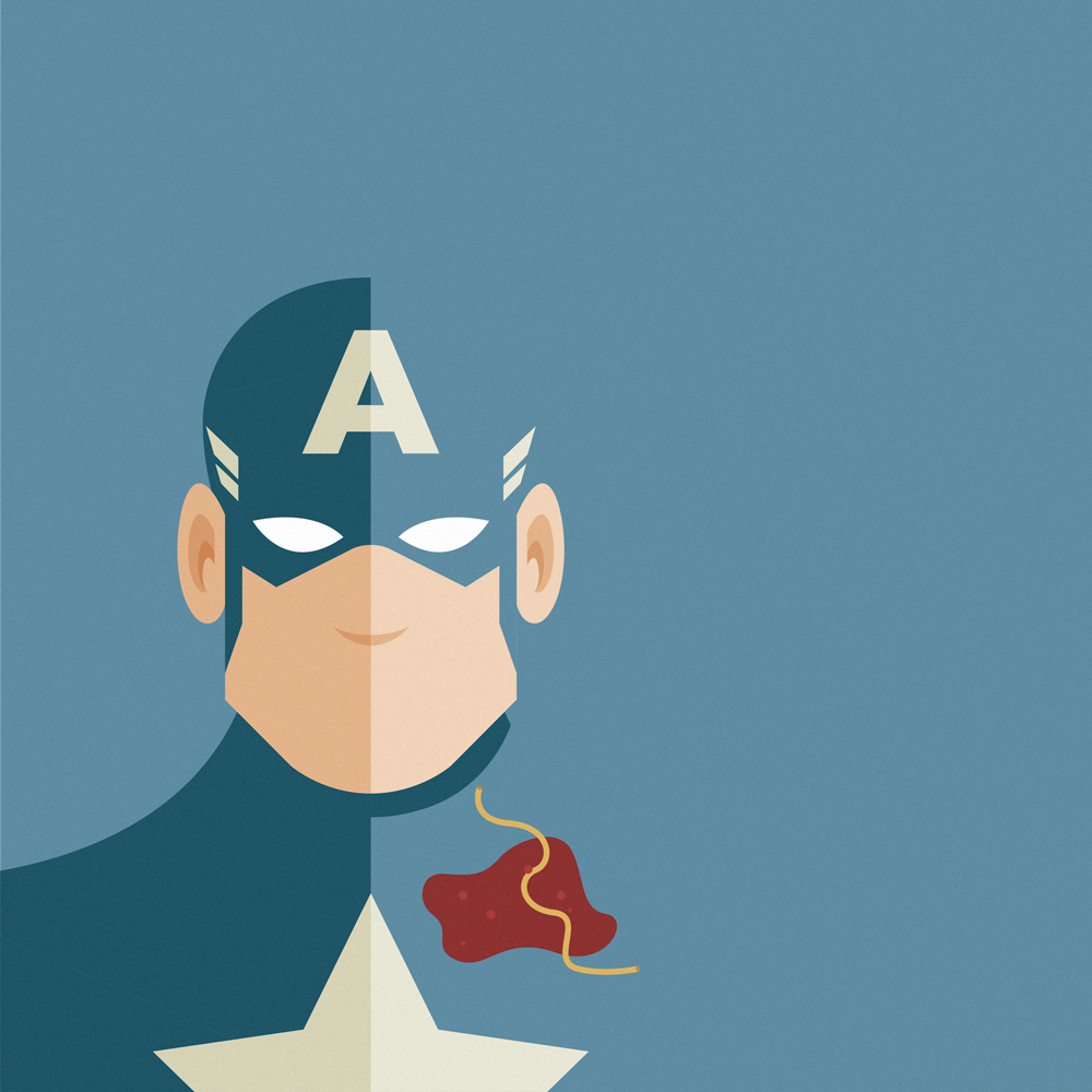 Imperfect Heroes: Captain America and the Spaghetti sauce.  Captain America wearing his usual blue helmet, he has a star on his chest, on a light blue background that merges with his suit. He's caught with a big stain of sauce and a noodle on his suit.