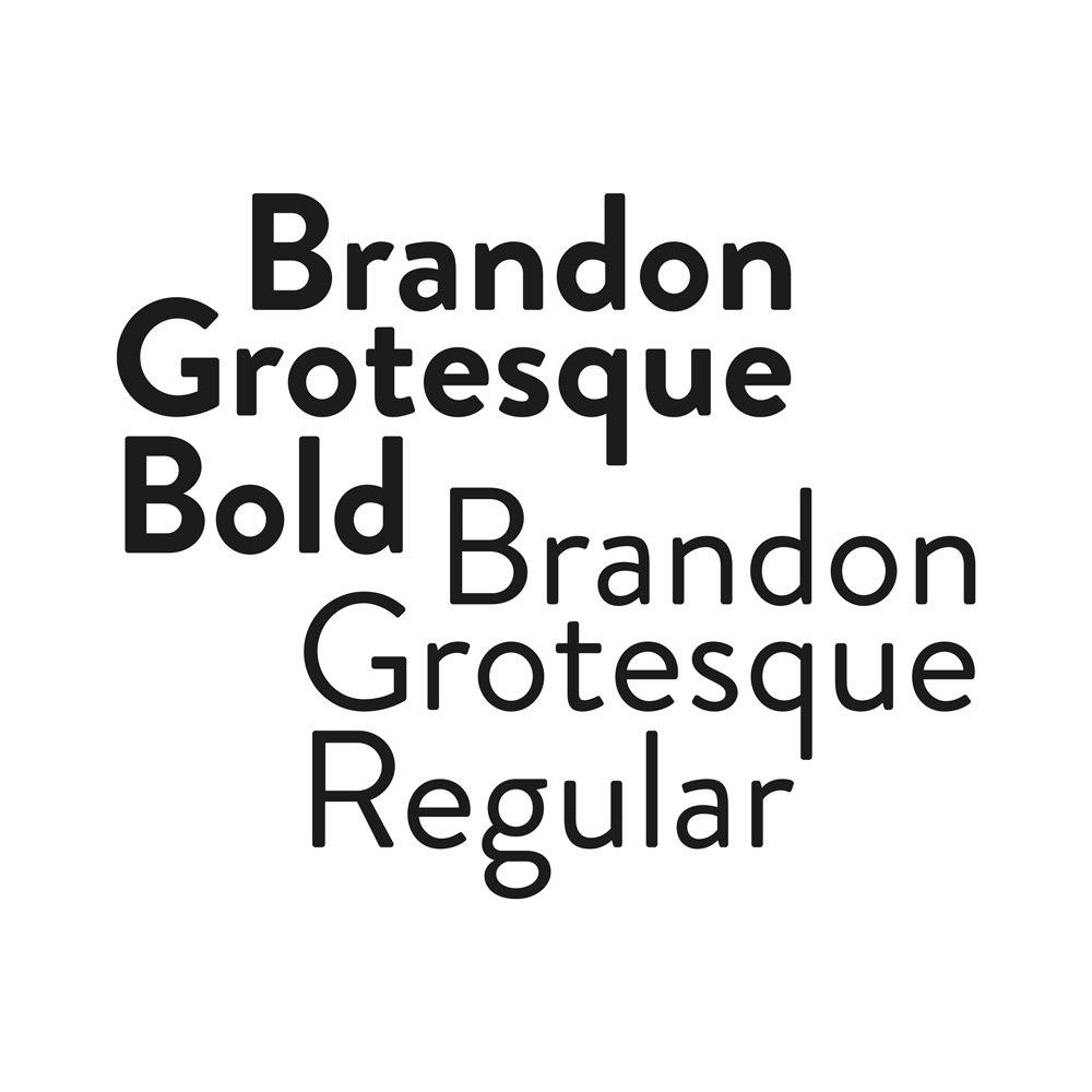 The Brandon Grotesque Font bold and regular, used for the composition of the logo and its coordinate image.