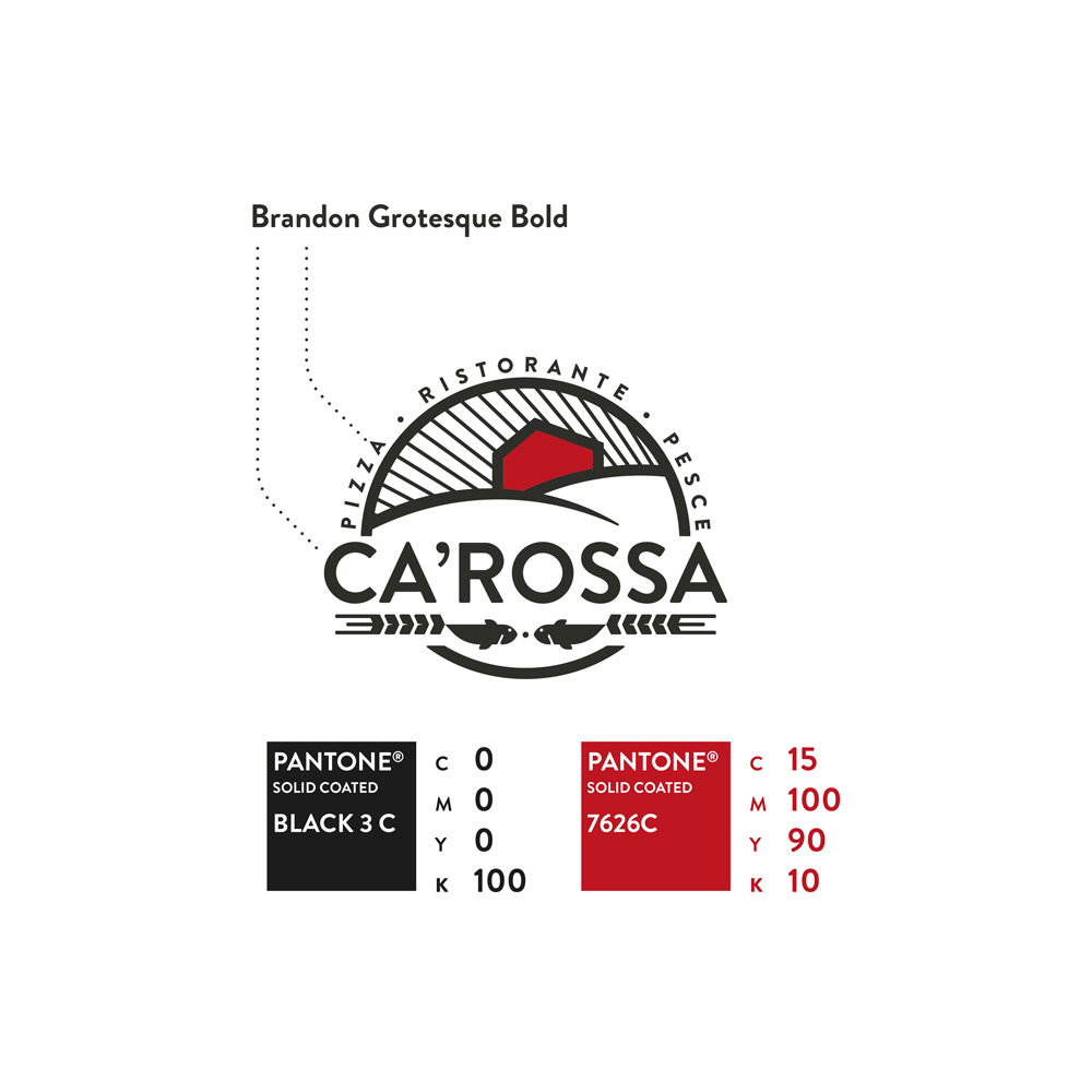 Ca' Rossa, font and pantone colors. A bright red inside of the house and a classic black for the other shapes.